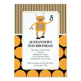 Robot Birthday Party Invitation Orange / Black