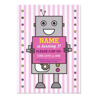 ROBOT Birthday Party Pink Stripe Girls Invitation