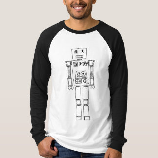 Robot black and white mens baseball tshirt