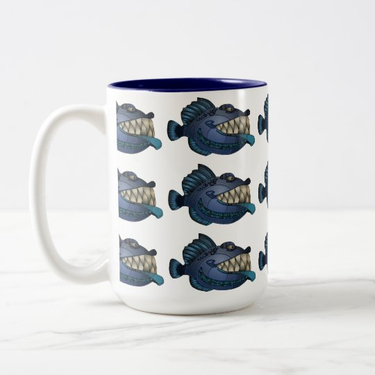 """Robot Blue"" Fish with Attitude Two-Tone Coffee Mug"