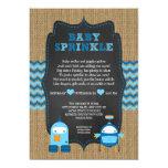 ROBOT BOY baby sprinkle / burlap chalkboard RUSTIC 13 Cm X 18 Cm Invitation Card