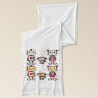 Robot Boy, Robot Girl, Robot Dog on Pink Flowers Scarf