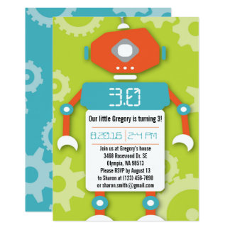 Robot Boy Themed Birthday Party Invitation