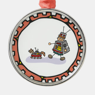 Robot Boy with Robot Cat Artwork Christmas Ornament