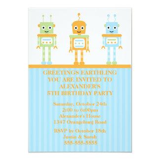 Robot Boys Birthday Party Card