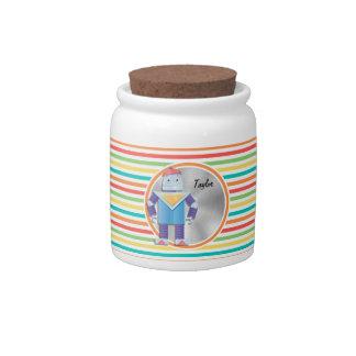 Robot; Bright Rainbow Stripes Candy Jar