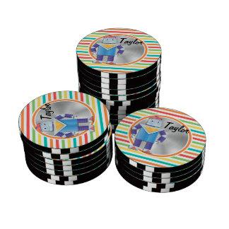 Robot; Bright Rainbow Stripes Set Of Poker Chips
