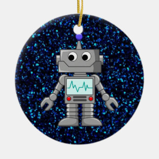 robot cartoon christmas ornament