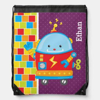 Robot * choose background color drawstring backpack