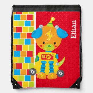 Robot * choose background color drawstring backpacks