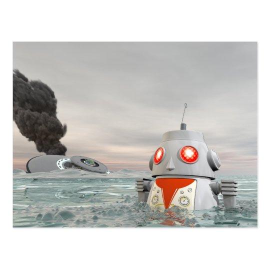 Robot Crash at Sea Postcard