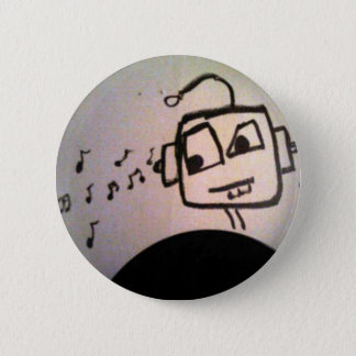Robot Drawing. 6 Cm Round Badge