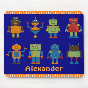 Robot Friends Child's Personalised Mousepad