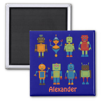 Robot Friends Child's Personalized Fridge Magnet