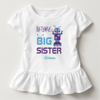 Robot Future Big Sister Purple Cute Personalized Toddler T-Shirt