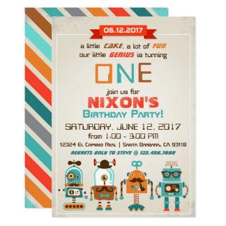 Robot Genius Future Builder Birthday 13 Cm X 18 Cm Invitation Card