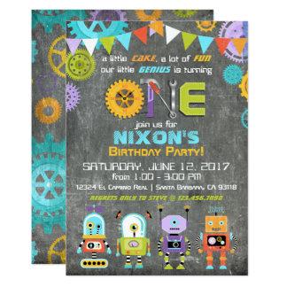 Robot Genius Gears Tools Chalkboard Birthday 13 Cm X 18 Cm Invitation Card