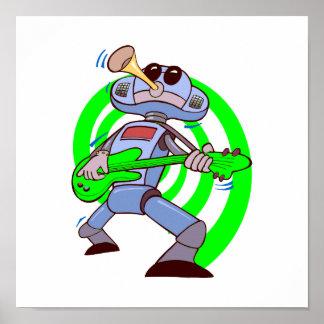 robot guitar player green.png print