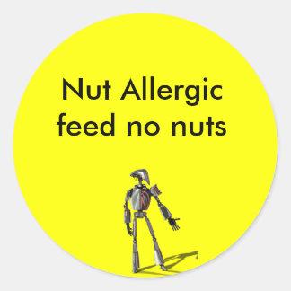Robot guy - Feed no nuts Round Sticker