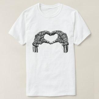 Robot hands make heart shape tee shirts