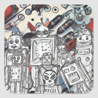 Robot Holiday 1 Square Sticker