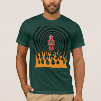 robot in flaming spiral, men's shirt