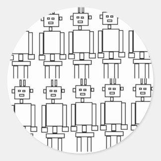 Robot invasion classic round sticker