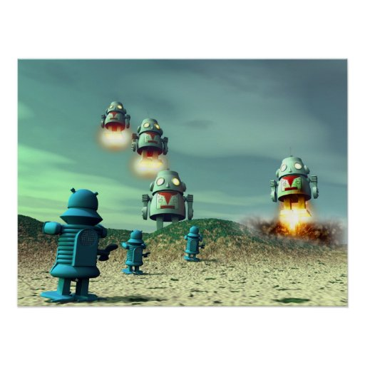Robot Invasion From Above V2 Poster