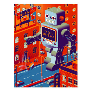 robot invasion postcard