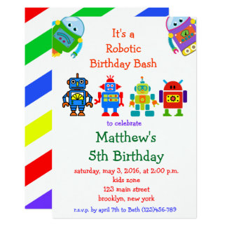 Robot Kids Birthday Party Invitation