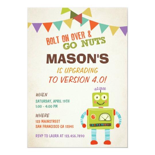 Robot Let's Go Nuts Birthday Party Invitation