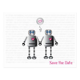 Robot Love Save the Date Postcard