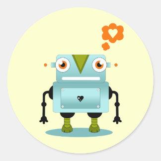 Robot Love Classic Round Sticker