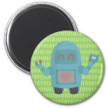 Robot Loves Computer Chips 6 Cm Round Magnet