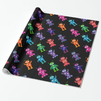 Robot Pattern Rainbow Crazy Birthday Wrapping Paper