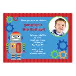 Robot Photo Birthday Party Invitations