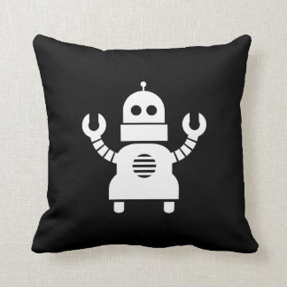 Robot Pictogram Throw Pillow Cushion