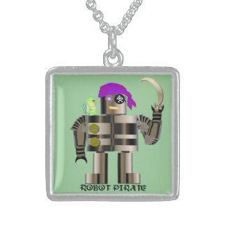 Robot Pirate Sterling Silver Personalized Necklace
