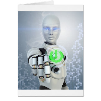 Robot Pushing Power Button Note Cards