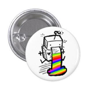 robot rainbow 3 cm round badge