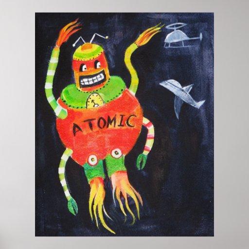 Robot Retro Vintage pop art Poster