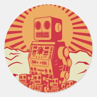 Robot Revolt Classic Round Sticker