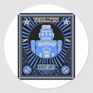 Robot Revolution Blue Stickers