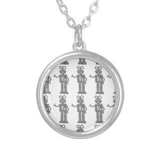 robot round pendant necklace