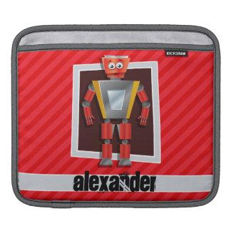 Robot; Scarlet Red Stripes iPad Sleeves