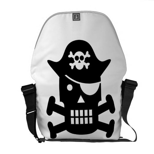 Robot Skull & Crossbones Pirate Silhouette Courier Bags