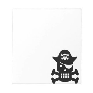 Robot Skull & Crossbones Pirate Silhouette Notepad