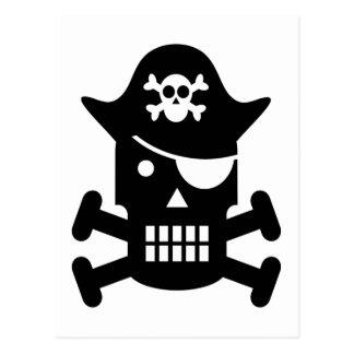 Robot Skull & Crossbones Pirate Silhouette Postcard