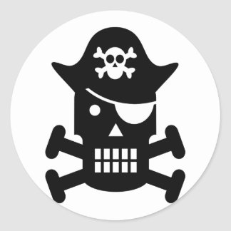 Robot Skull & Crossbones Pirate Silhouette Round Stickers
