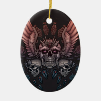 Robot Skull + Wings Christmas Ornament